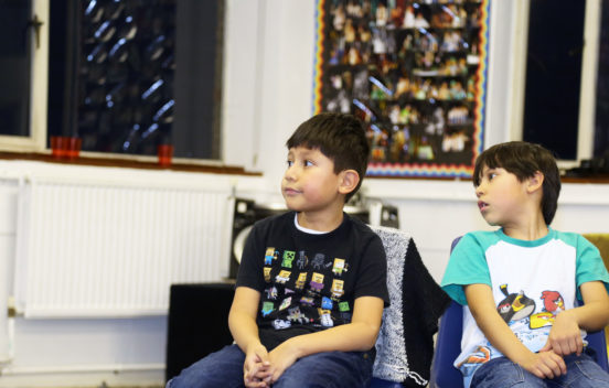 Brothers sat at a KidsTime Workshop
