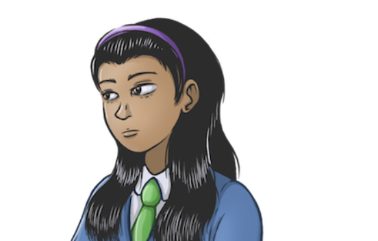 Illustration of a teenage school girl looking tired and sad