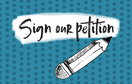 Sign our petition banner graphic