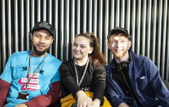 Photo of three young people from the Mayor of London's Peer Outreach team