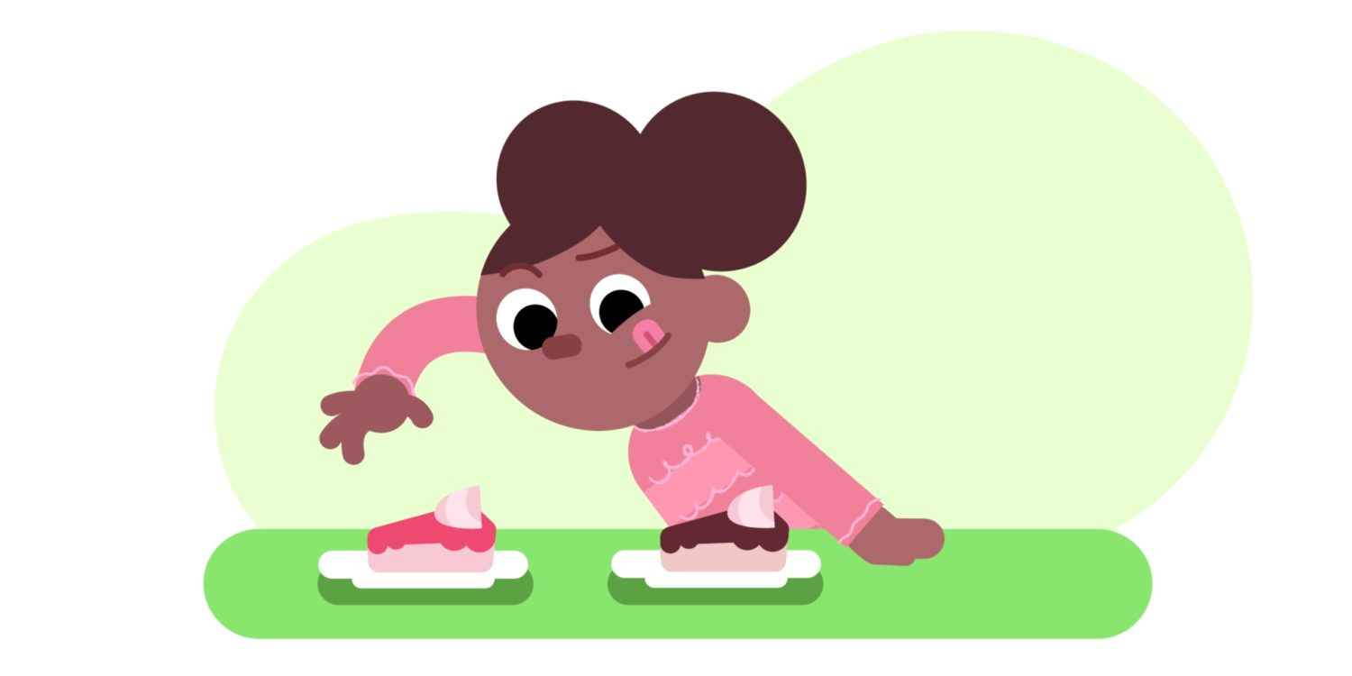 Our Time animation still of girl choosing cake