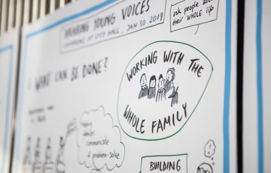 Illustrated visual with the words Working with the whole family
