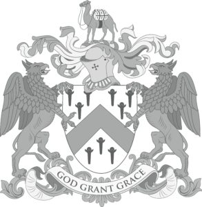 The Worshipful Company of Grocers crest with helmet, shield and griffins