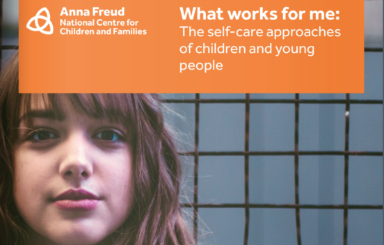 Anna Freud National Centre for Children and Families brochure cover featuring a girl looking at the camera against a wall, their logo and the title What Works for me