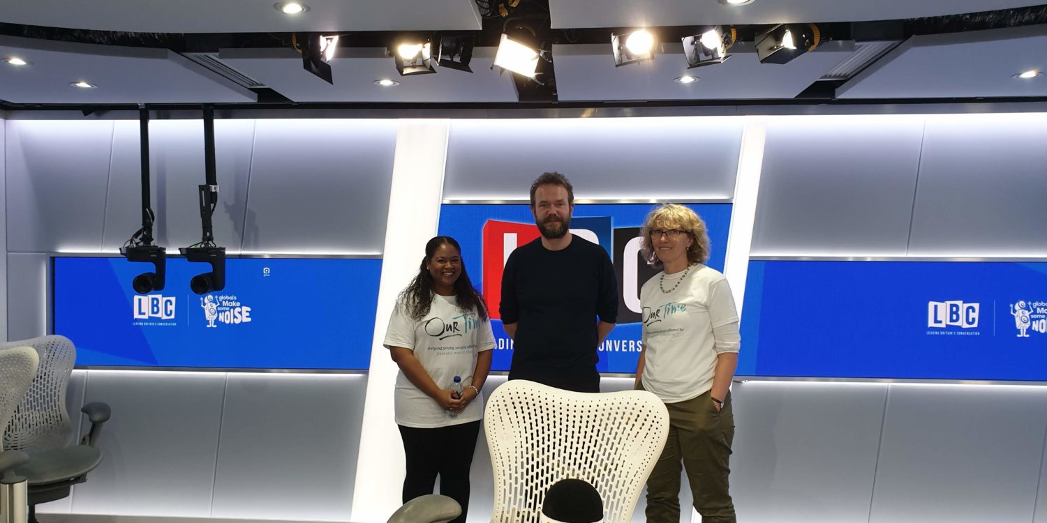 Two Our Time staff standing in the LBC studio with James O'Brien