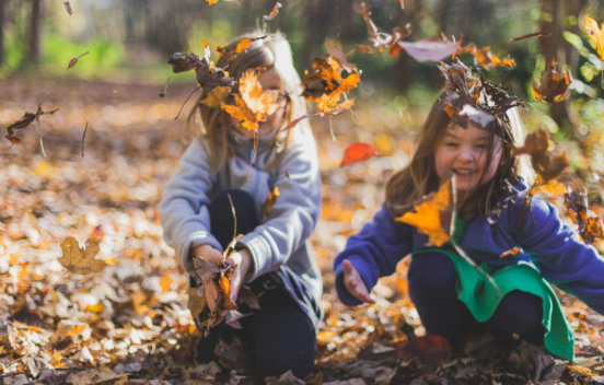 Two children playing in autumn leaves