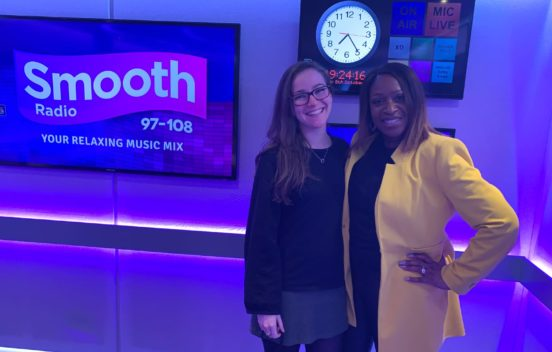 A photo of Kirsty Tahta-Wraith visiting Smooth Radio for Global's Make Some Noise