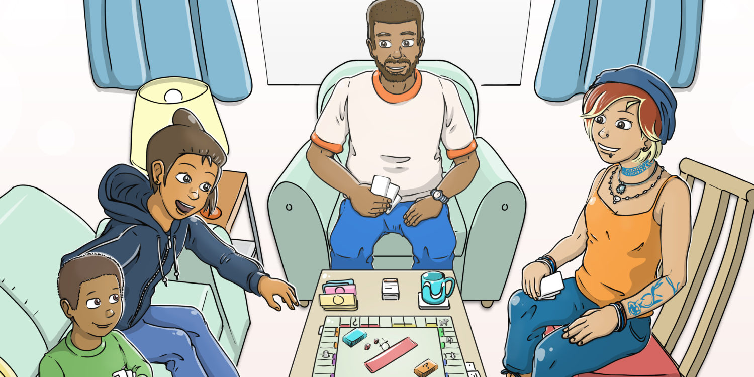 Illustration of a family happily playing a game