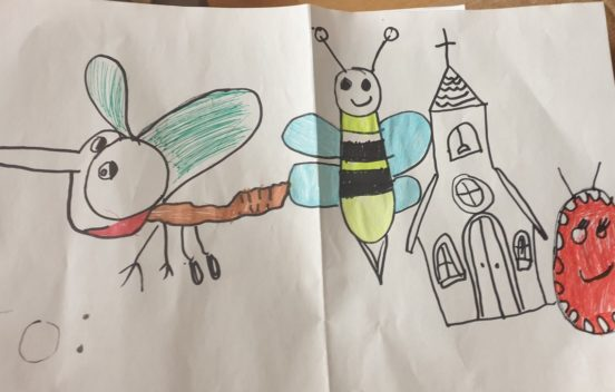 A child's illustration of a church and insects