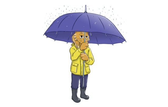 A small cartoon cat girl holding up an umbrella in the rain