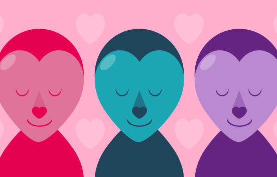 A graphic filled with happy faces and cartoon hearts