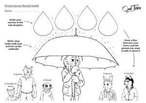 Raindrops colouring worksheet preview