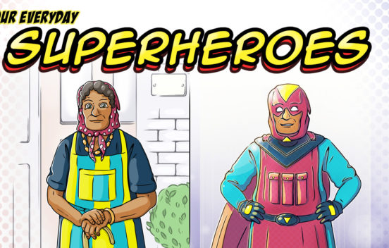 Superhero banner - An illustration of an old woman reimagined as a superhero