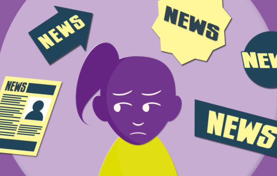 A worried cartoon girl surrounded by news headlines