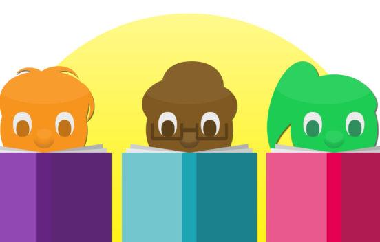 Children in a line reading books