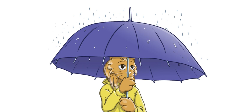 A cat holding an umbrella