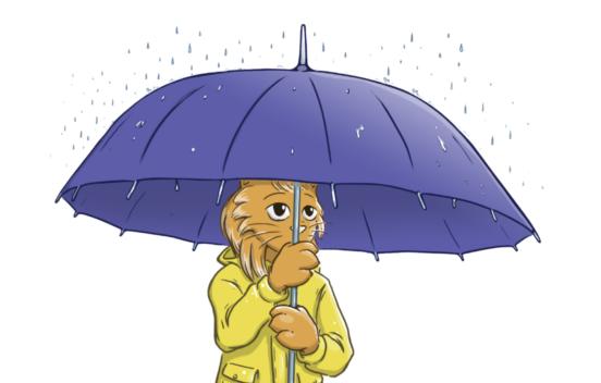 A cartoon cat holding an umbrella