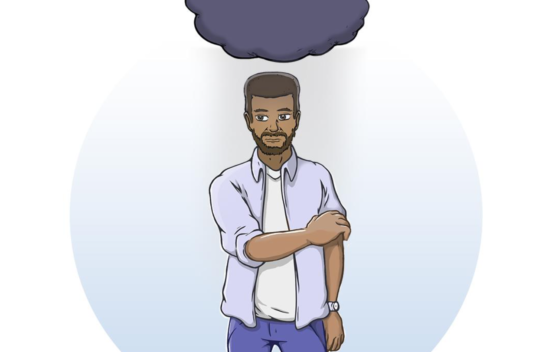 Illustrated person with a cloud over their head