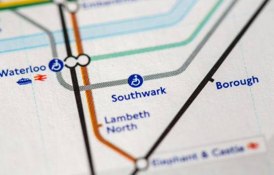 Tube map image of Southwark station
