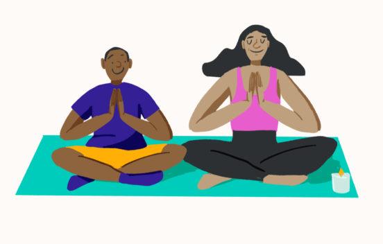 A cartoon man and woman sat cross legged meditating.