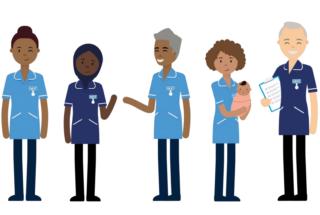 Cartoon depictions of NHS staff waving