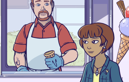 Still from animation of ice cream man and girl