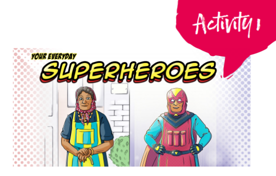 Superhero activity pack picture showing a super granny