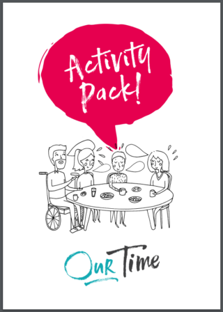 Activity pack cover featuring people around a table