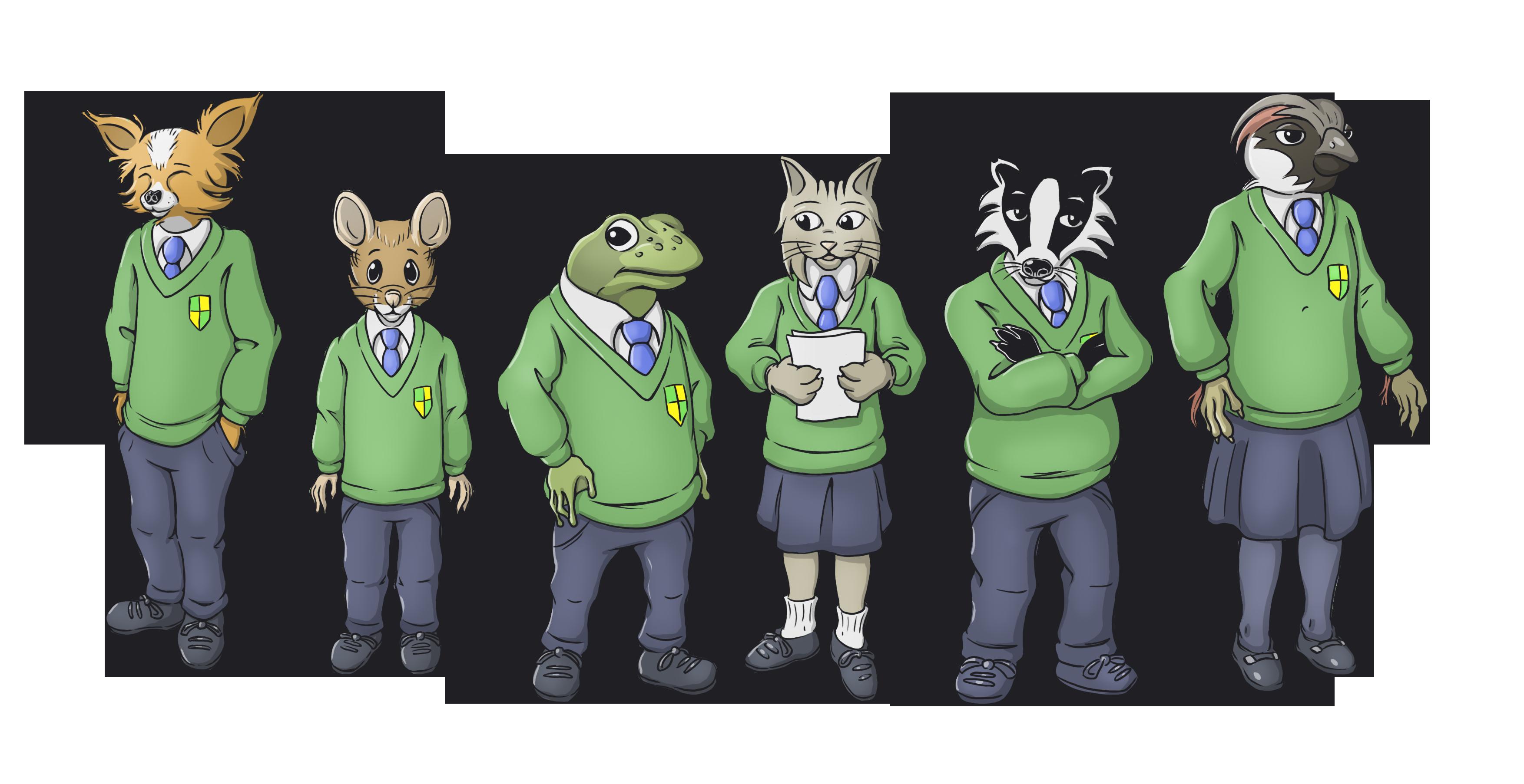 Illustration of six students